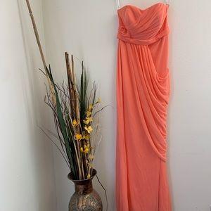 David's Bridal Coral Bridesmaid Dress
